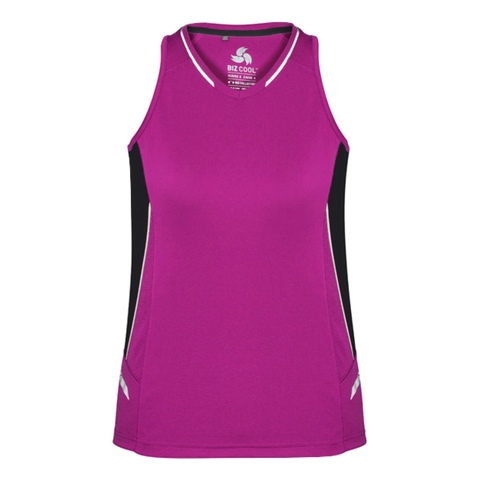 Womens Renegade Singlet, Colours: Magenta / Black / Silver