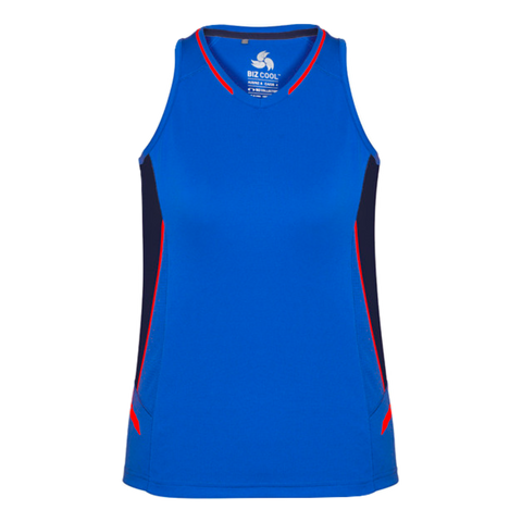 Womens Renegade Singlet, Colours: Royal / Navy / Fl Orange