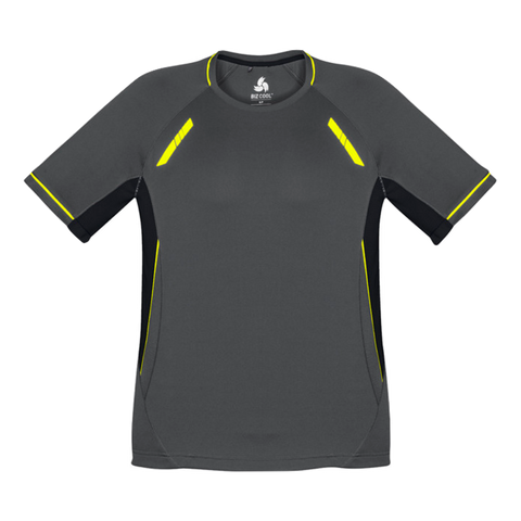 Image of Mens Renegade Tee, Colours: Grey / Black / Fl Yellow