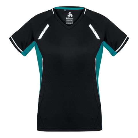Image of Womens Renegade Tee - Colours Black / Teal / Silver