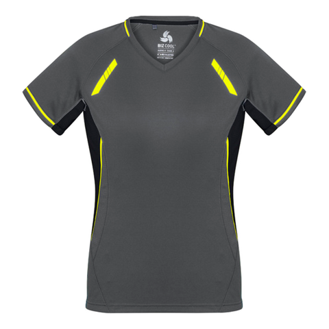 Image of Womens Renegade Tee - Colours Grey / Black / Fl Yellow