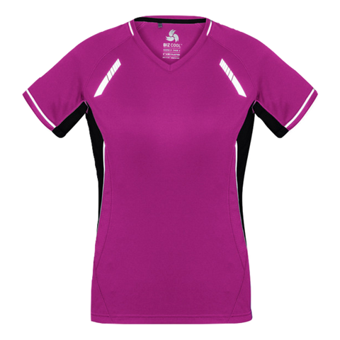 Image of Womens Renegade Tee - Colours Magenta / Black / Silver