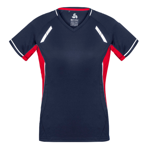 Womens Renegade Tee, Colours: Navy / Red / Silver
