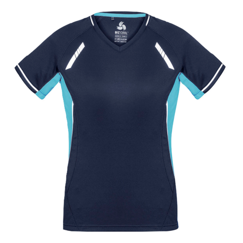 Image of Womens Renegade Tee - Colours Navy / Sky / Silver
