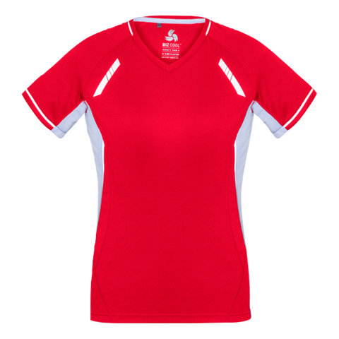 Image of Womens Renegade Tee - Colours Red / White / Silver