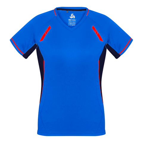 Womens Renegade Tee, Colours: Royal / Navy / Fl Orange