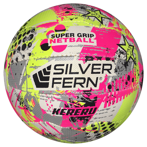 Image of Silver Fern Kereru Netball, Size: 5, Colours: White-Pink / Yellow / Silver