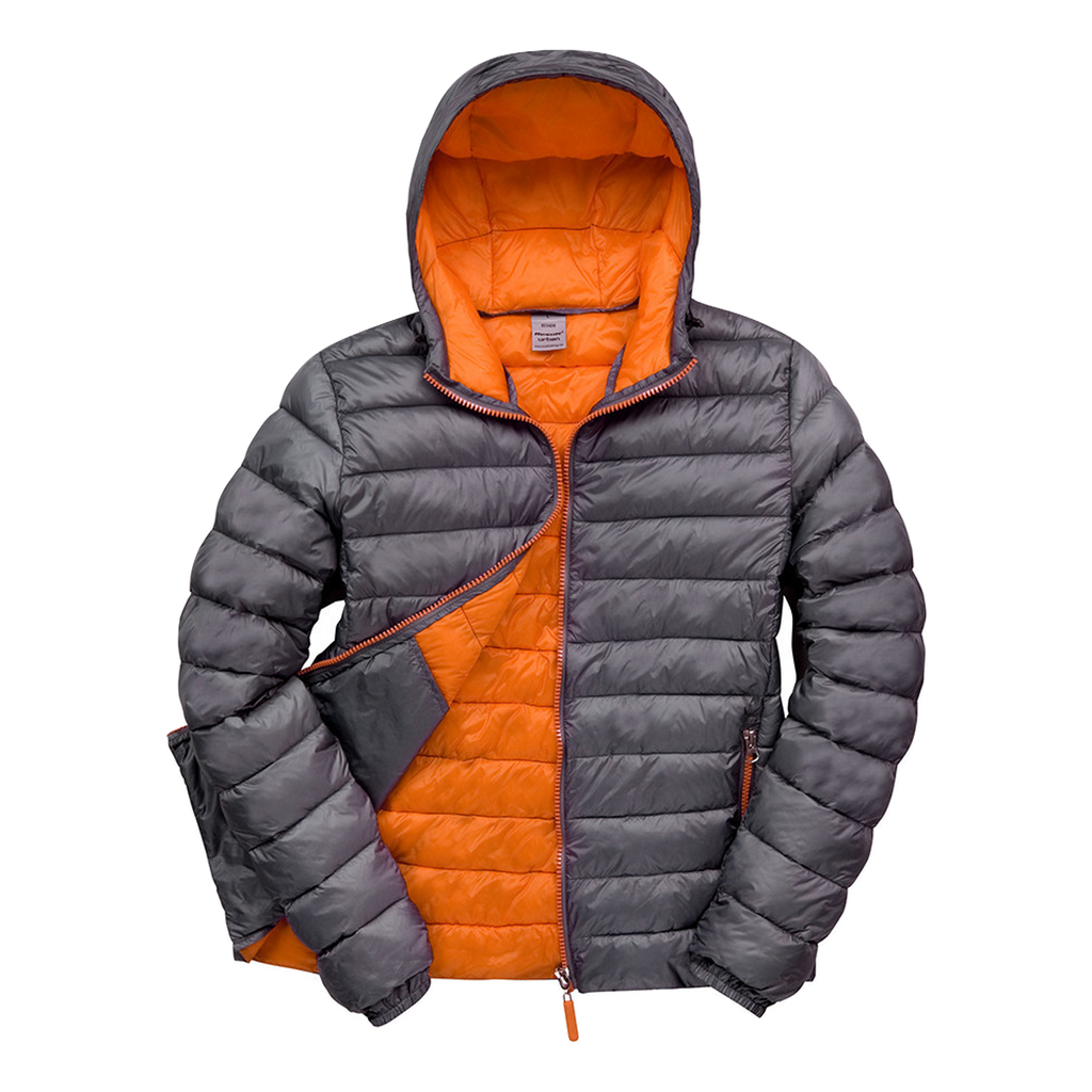 Womens Snowbird Hooded Jacket, Colours: Charcoal / Orange