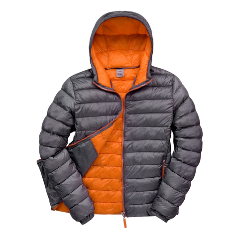 Image of Womens Snowbird Hooded Jacket, Colours: Charcoal / Orange