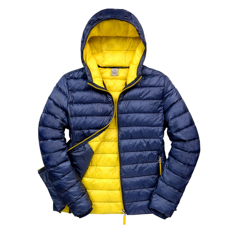 Image of Womens Snowbird Hooded Jacket - Colours Navy / Yellow