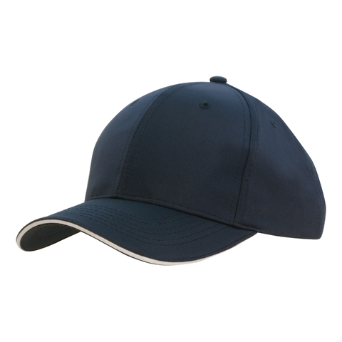 Image of Sports Ripstop with Sandwich Trim, Colours: Navy / White