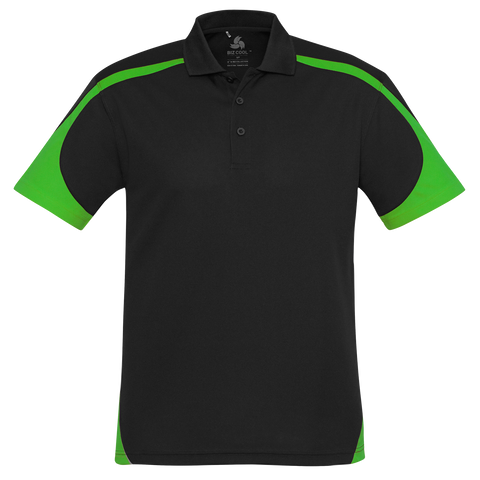 Image of Mens Talon Polo, Colours: Black / Green