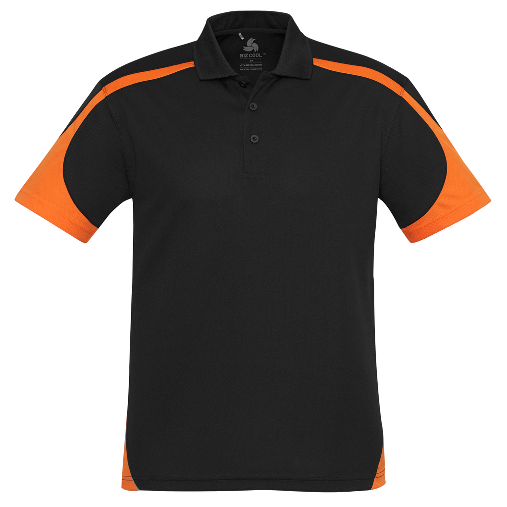 Mens Talon Polo, Colours: Black / Orange