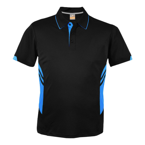Image of Kids Tasman Polo - Colours Black / Cyan