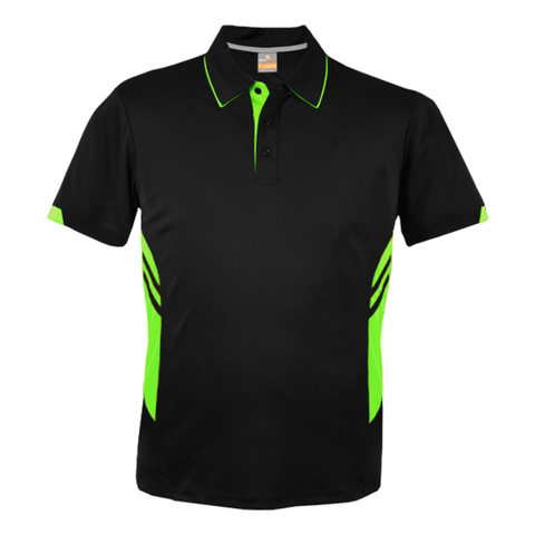 Image of Kids Tasman Polo - Colours Black / Neon Green