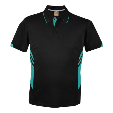 Image of Kids Tasman Polo - Colours Black / Teal