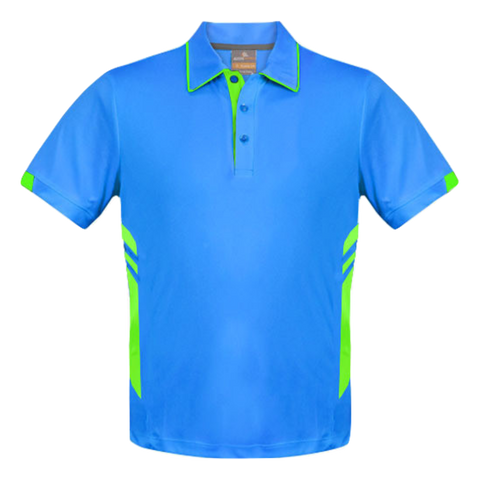 Image of Kids Tasman Polo - Colours Cyan / Neon Green
