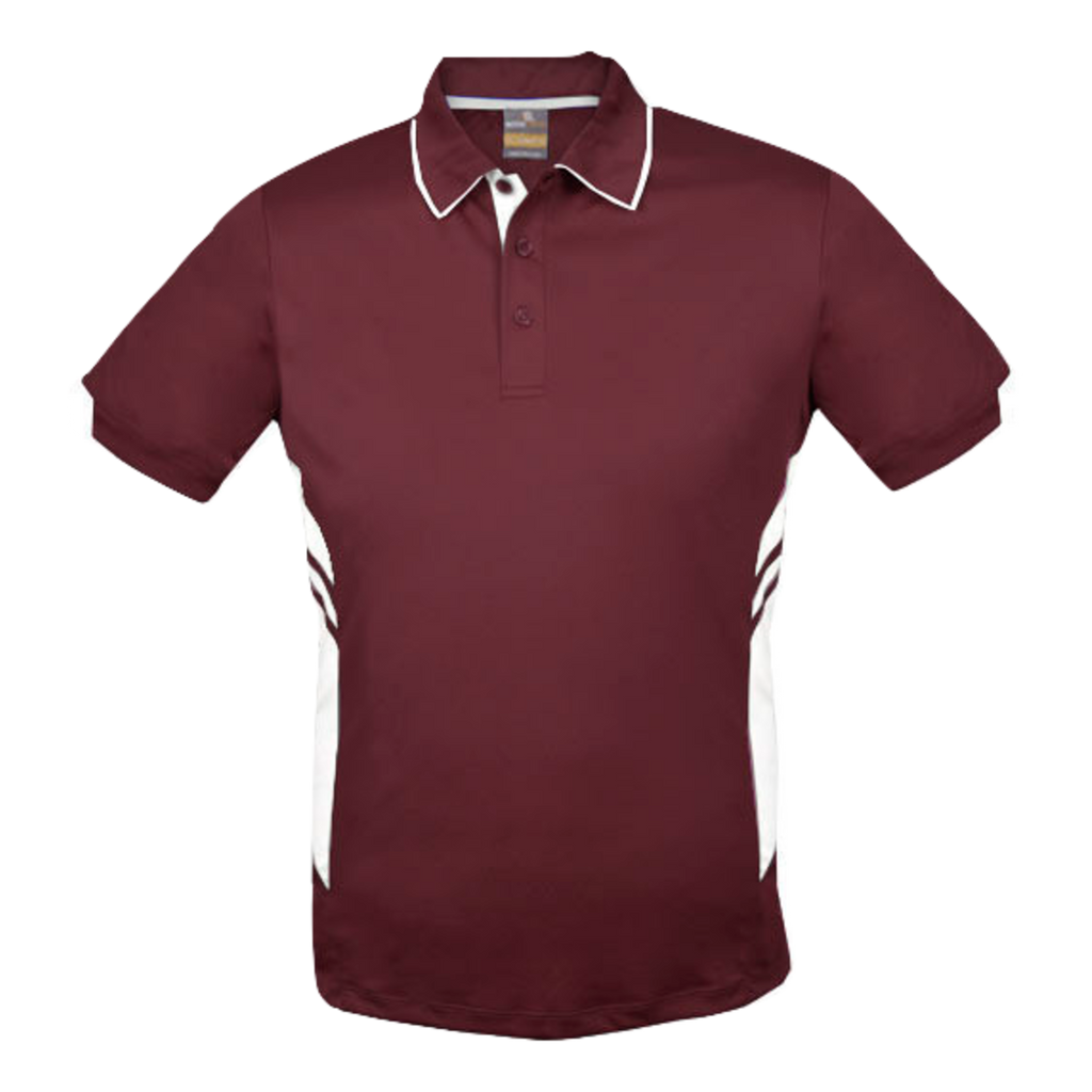 Kids Tasman Polo - Colours Maroon / White
