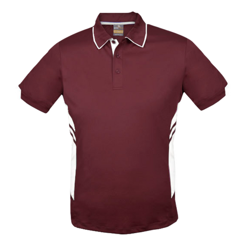 Image of Kids Tasman Polo - Colours Maroon / White