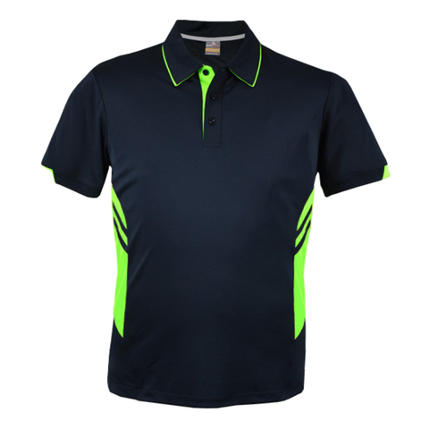 Image of Kids Tasman Polo - Colours Navy / Neon Green