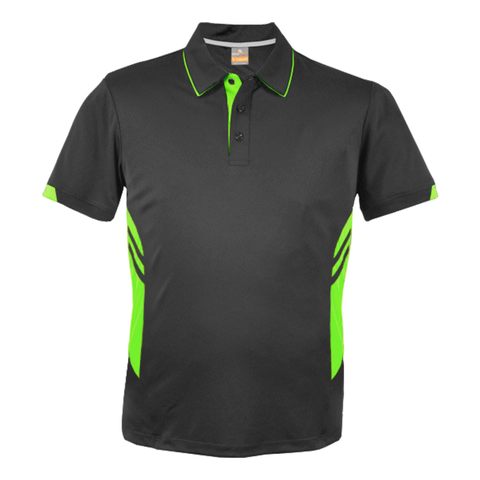 Image of Kids Tasman Polo - Colours Slate / Neon Green