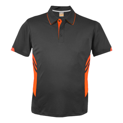 Image of Kids Tasman Polo - Colours Slate / Neon Orange