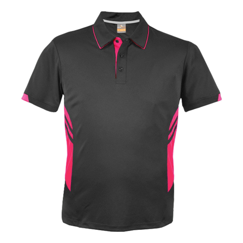 Image of Kids Tasman Polo - Colours Slate / Neon Pink