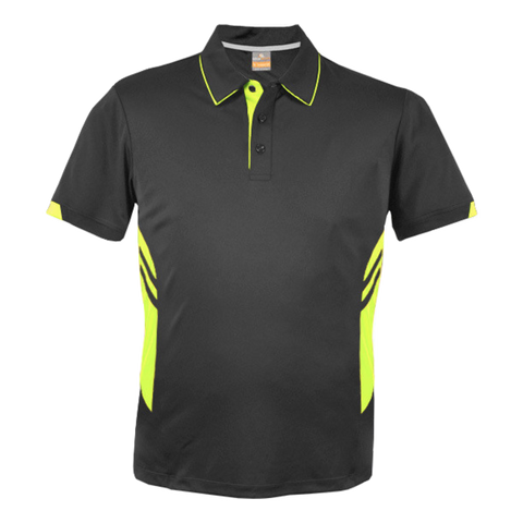 Image of Kids Tasman Polo - Colours Slate / Neon Yellow