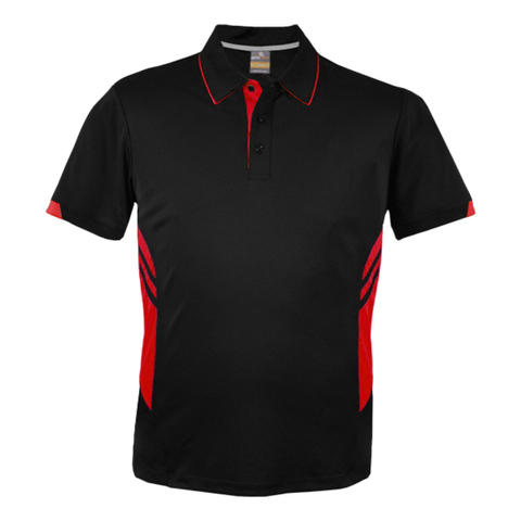 Image of Mens Tasman Polo - Colours Black / Red