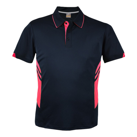 Image of Mens Tasman Polo - Colours Navy / Neon Pink