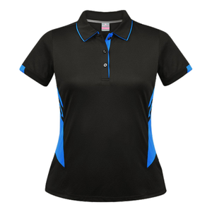 Womens Tasman Polo - Colours Black / Cyan