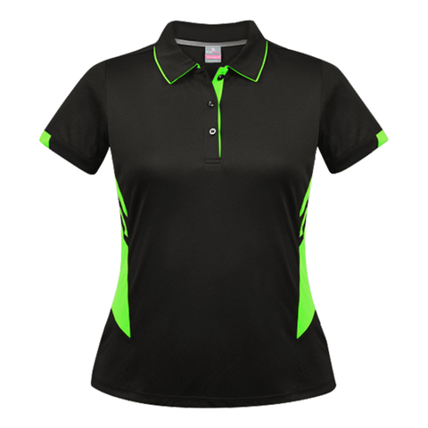 Womens Tasman Polo - Colours Black / Neon Green