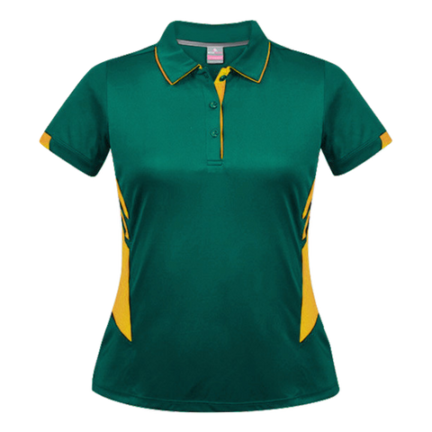 Womens Tasman Polo - Colours Bottle / Gold