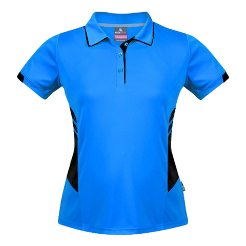 Womens Tasman Polo - Colours Cyan / Black
