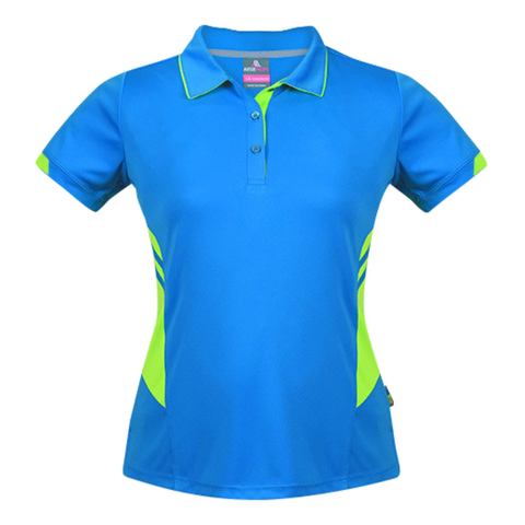 Womens Tasman Polo - Colours Cyan / Neon Green