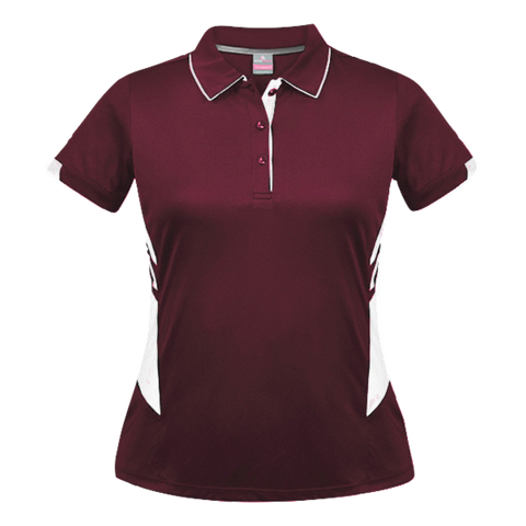 Womens Tasman Polo - Colours Maroon / White