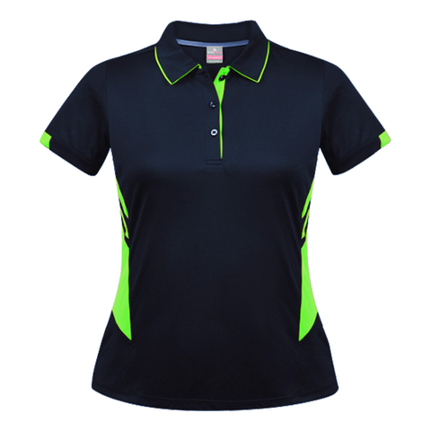 Womens Tasman Polo - Colours Navy / Neon Green