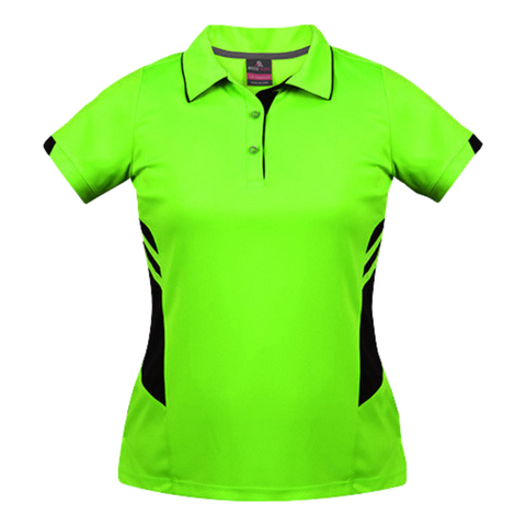 Womens Tasman Polo - Colours Neon Green / Black