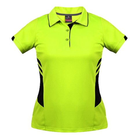 Womens Tasman Polo - Colours Neon Yellow / Black