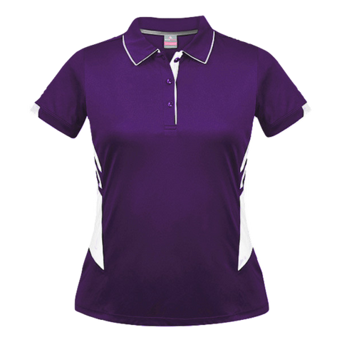 Womens Tasman Polo - Colours Purple / White