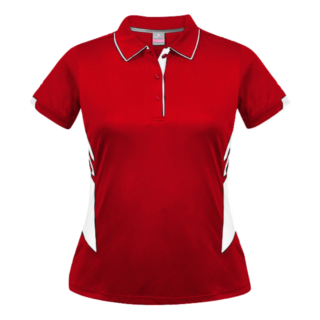 Womens Tasman Polo, Colours: Red / White