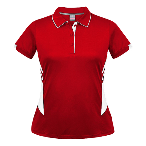 Image of Womens Tasman Polo, Colours: Red / White