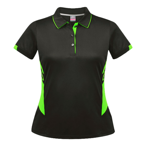 Womens Tasman Polo - Colours Slate / Neon Green