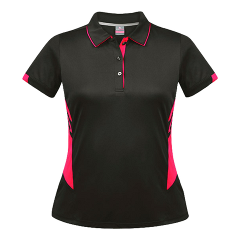 Womens Tasman Polo - Colours Slate / Neon Pink