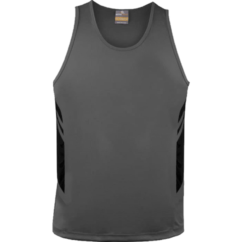 Mens Tasman Singlet, Colours: Ashe / Black