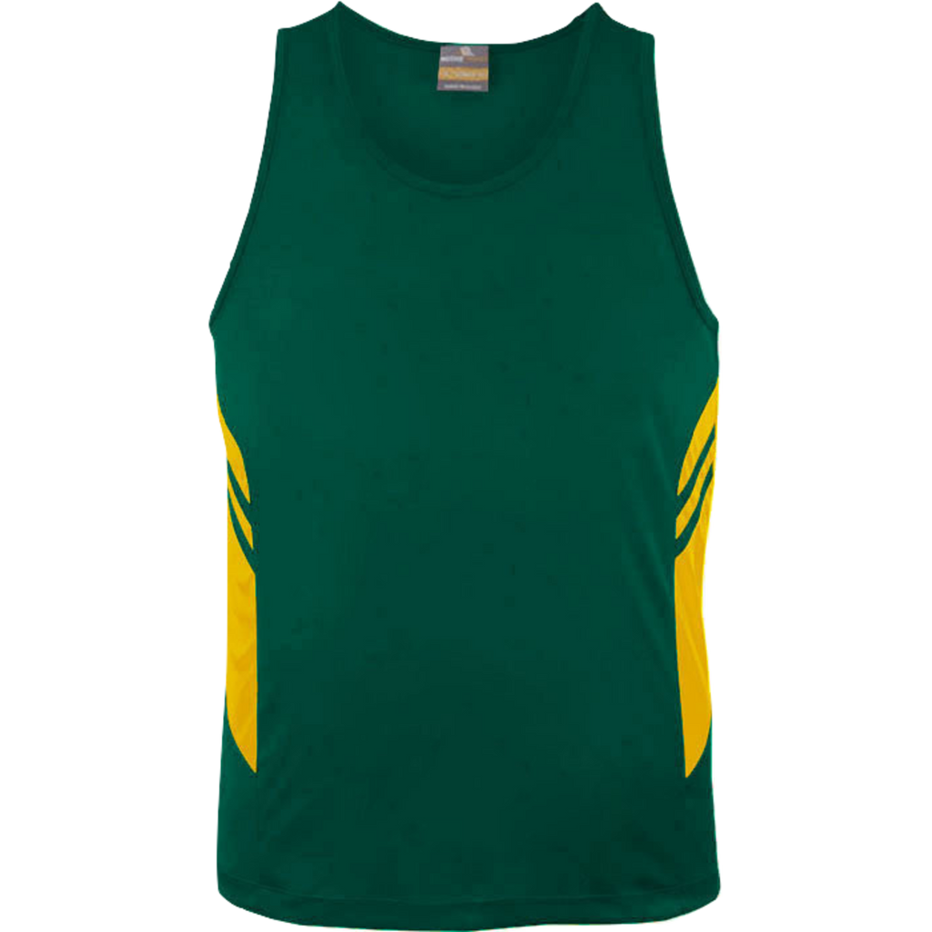 Mens Tasman Singlet, Colours: Bottle / Gold