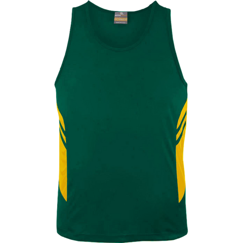 Image of Mens Tasman Singlet, Colours: Bottle / Gold