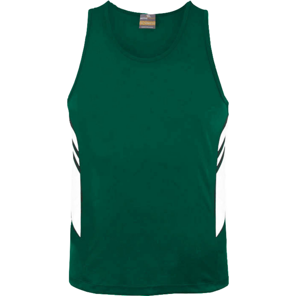 Mens Tasman Singlet, Colours: Bottle / White