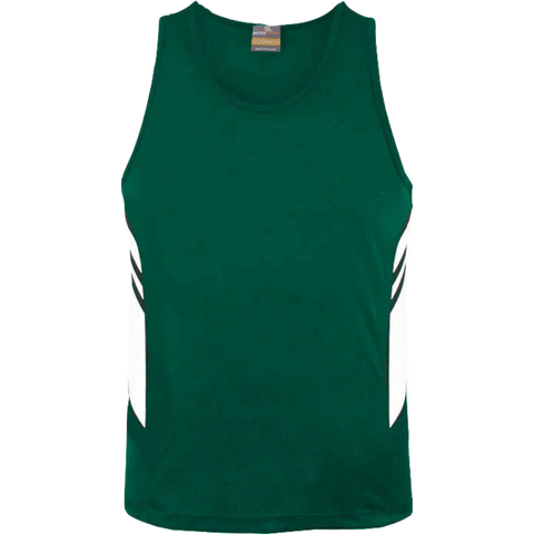 Mens Tasman Singlet - Colours Bottle / White