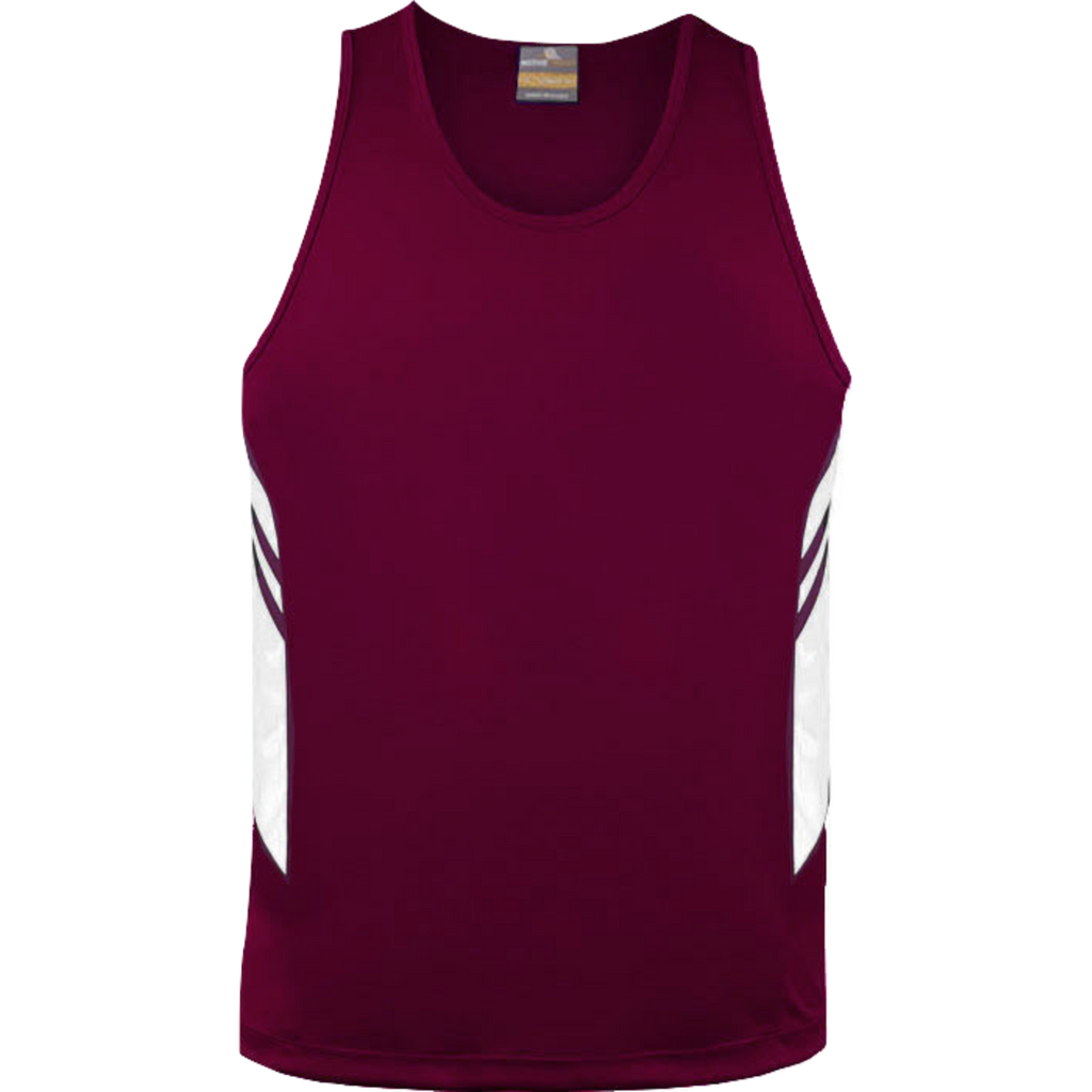 Mens Tasman Singlet, Colours: Maroon / White